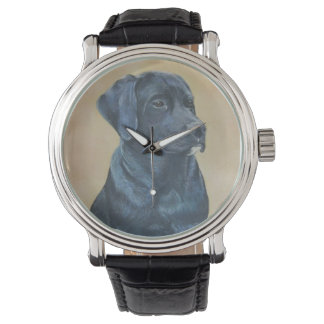black labrador dog portrait realist art watch