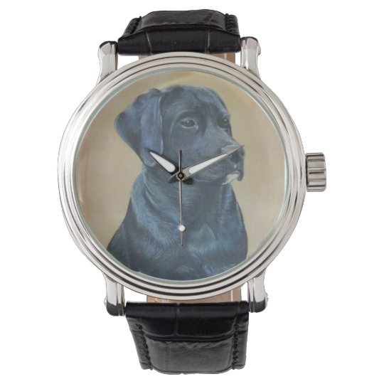 black labrador dog portrait realist art watch