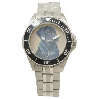 black labrador dog portrait realist art wrist watch