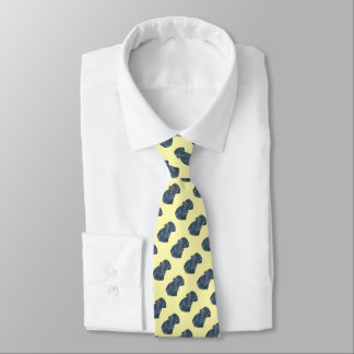 black Labrador dog realist portrait art pale lemon Tie