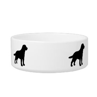 Black Labrador Dog Silhouettes on White/any Color Pet Water Bowl