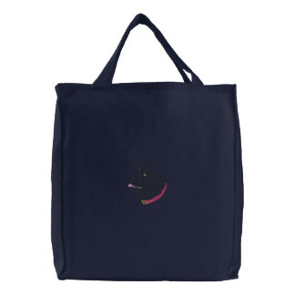 Black Labrador Embroidered Bags