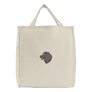 Black Labrador Embroidered Tote Bags