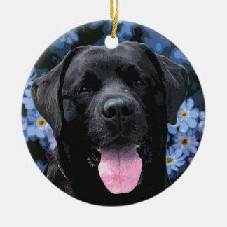 Black Labrador - Forget Me Not Christmas Ornament