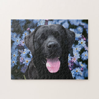 Black Labrador - Forget Me Not Jigsaw Puzzle