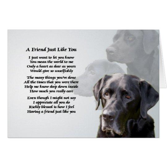 Black Labrador Friend Poem Card