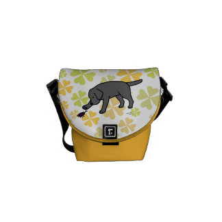 Black Labrador Friendly with Clovers Courier Bag