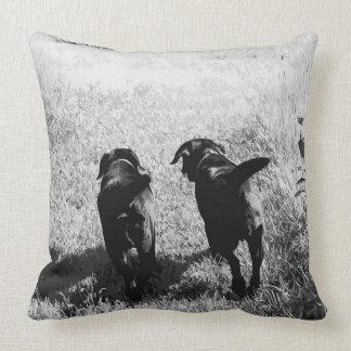 Black Labrador Friends Cushion