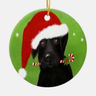 Black Labrador -Funny Christmas Dog Round Ceramic Decoration
