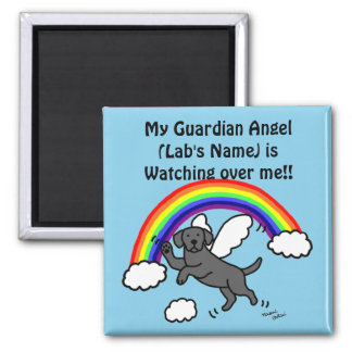 Black Labrador Guardian Angel (Rainbow Bridge) Square Magnet
