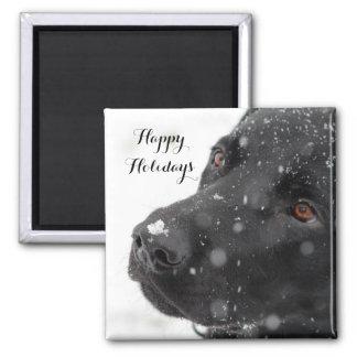Black Labrador Happy Holidays Magnet