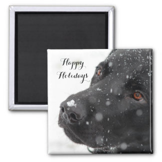 Black Labrador Happy Holidays Square Magnet