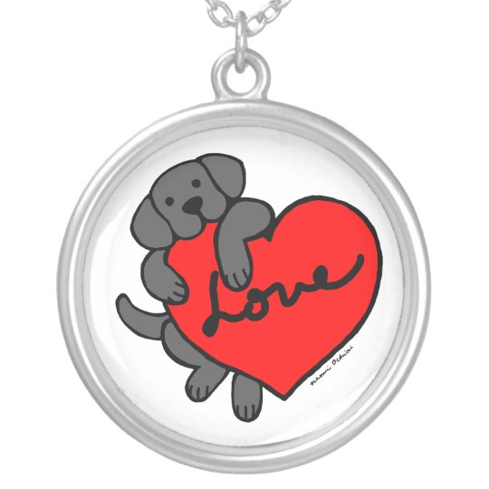 Black Labrador & Heart Cartoon necklace