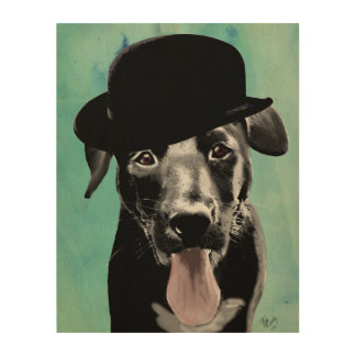 Black Labrador in Bowler Hat Wood Wall Decor