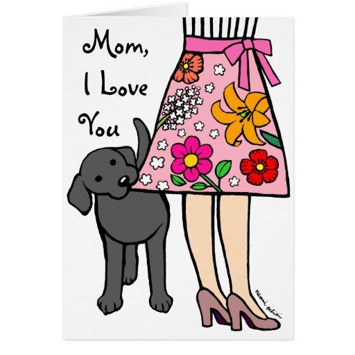 Black Labrador & Mom's Skirt Cartoon Greeting Card