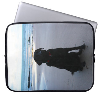 Black Labrador on a beach Computer Sleeve