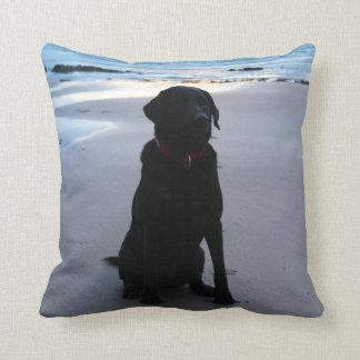 Black Labrador on a beach Cushion