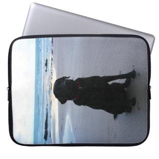 Black Labrador on a beach Laptop Sleeve