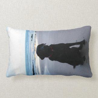 Black Labrador on a beach Lumbar Cushion