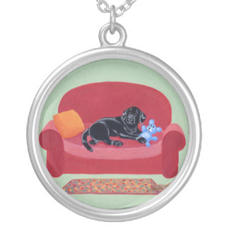 Black Labrador on the Pink Couch Silver Plated Necklace