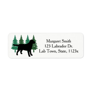 Black Labrador Outline Evergreen Trees Four Return Address Label