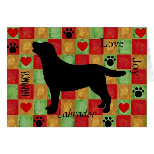 Black Labrador Outline Mosaic and Hearts Card