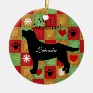 Black Labrador Outline Mosaic and Hearts Christmas Ornament