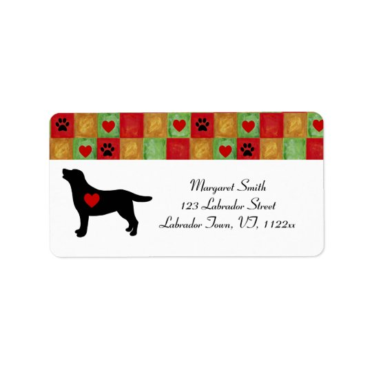 Black Labrador Outline Mosaic and Hearts Label