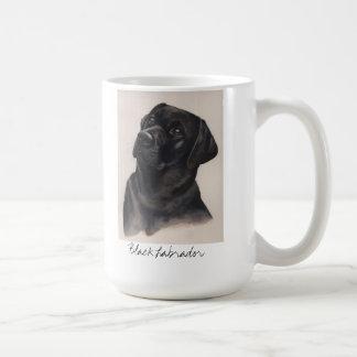 Black Labrador Painted in Watercolour Basic White Mug