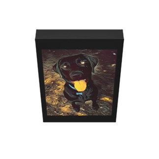 Black labrador painting canvas print