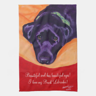 Black Labrador Painting Tea Towel