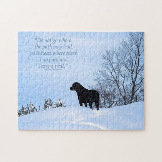 Black Labrador - Path Life Quote 2 Jigsaw Puzzle