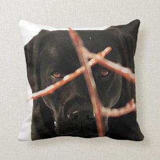 Black Labrador - Peeking Branches Cushion
