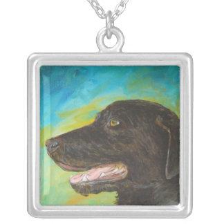 Black Labrador Pet Portrait Painting Necklace