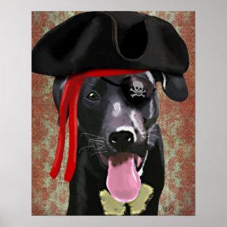 Black Labrador Pirate Dog Poster