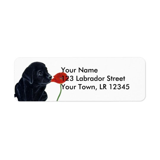 Black Labrador Puppy and Poppy Return Address Label