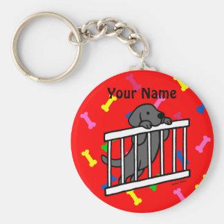 Black Labrador Puppy Cartoon Basic Round Button Key Ring