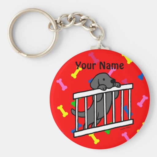 Black Labrador Puppy Cartoon Key Chains