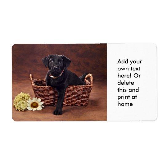 Black Labrador Puppy Dog Shipping Label