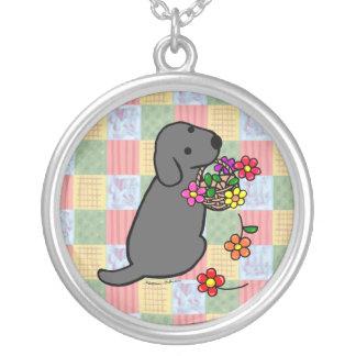 Black Labrador Puppy Flower Basket Silver Plated Necklace