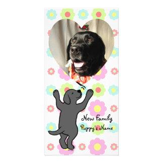 Black Labrador Puppy Hug Cartoon Floral Personalized Photo Card