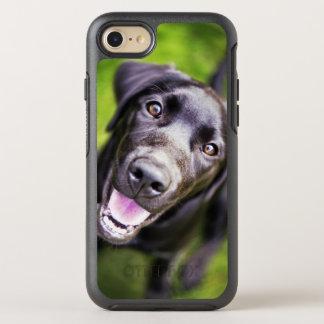 Black labrador puppy looking upwards, close-up OtterBox symmetry iPhone 7 case