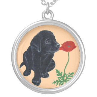 Black Labrador Puppy & Poppy Painting Silver Plated Necklace