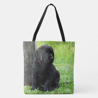 Black Labrador Puppy - Puppy Days of Summer Tote Bag