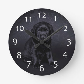 Black Labrador puppy Round Clock