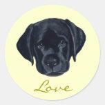 Black Labrador Puppy Round Sticker