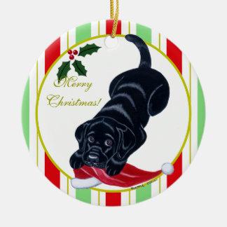 Black Labrador Puppy & Santa Hat Christmas Round Ceramic Decoration