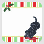 Black Labrador Puppy & Santa Hat Gift Label Square Stickers
