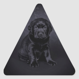 Black Labrador puppy Triangle Sticker