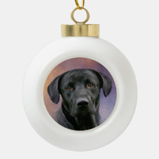 Black Labrador Retriever Ceramic Ball Christmas Ornament